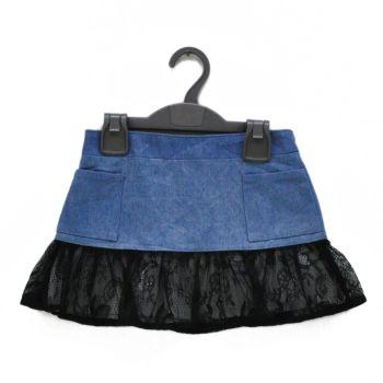 Girls Denim Lace Skirt