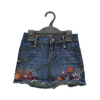Girls Embroidered Denim Skirt