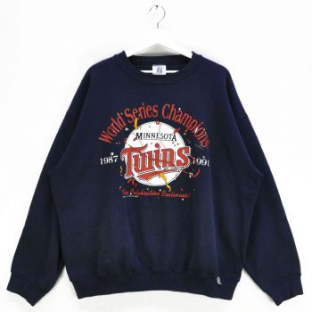 1991 Minnesota Twins World Series Champions Navy Sweatshirts ( Made in USA )- Vintage
