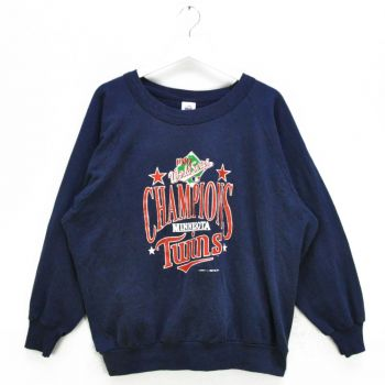 1987 Minnesota Twins World Series Champions Navy Sweatshirts ( Made in USA ) - Vintage