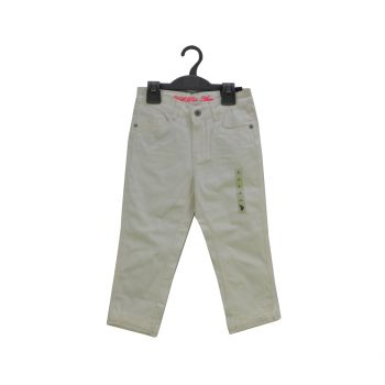 Girls White Cuff Capri Pants