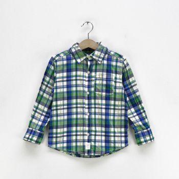 Boys Checkered Pocket Long Sleeve Shirt