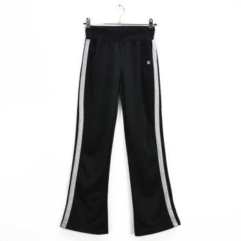 Girls Side Striped Bell Bottom Black Sports Pants
