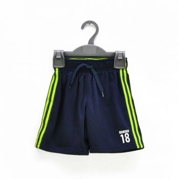 Boys Navy & Neon Side Striped Shorts