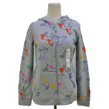 Girls Printed Full Zip Hooded Jacket