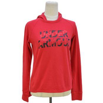Girls Red Logo Printed Hooded Sweatshirt