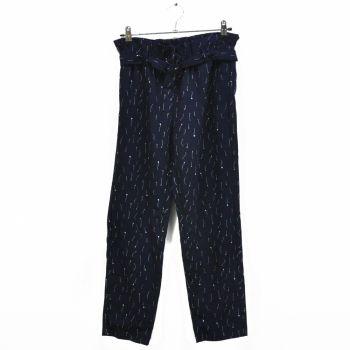 Girls Printed Navy Paperbag Pants
