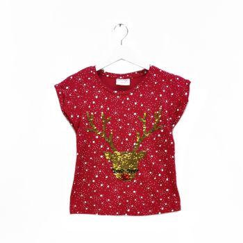 Girls Sequins Printed T-Shirt