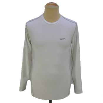 Mens Duo Dry White Fitted Long Sleeve Sports T-Shirts