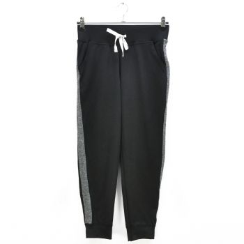 Girls Black Gray Side Striped Cuff Sports Pants