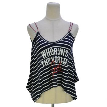 Girls Strappy Striped Sleeveless Top