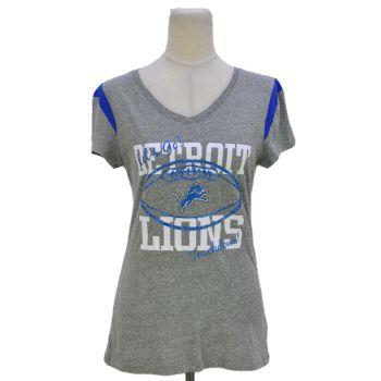 Ladies Gray V-Neck Graphic T-Shirt