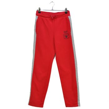 Boys Red Gray Striped Sweatpants