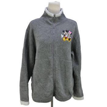 Vintage Walt Disney World Disneyland Resort Women's Full Zip Fleece Jacket Grey