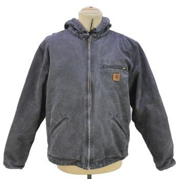 Vintage Carhartt Full Zip Faded Inside Fleece Hooded Worker's Jacket