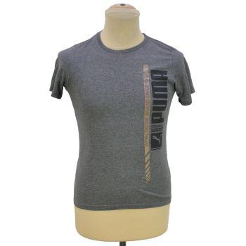 Boys Printed Gray Crewneck T-Shirt