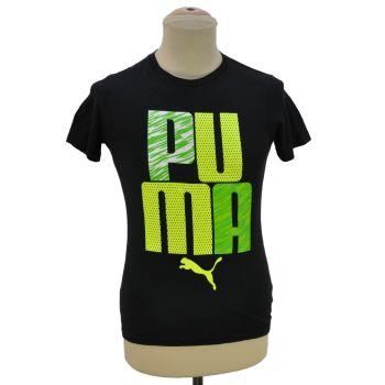 Boys Black Puma Logo Black T-Shirt