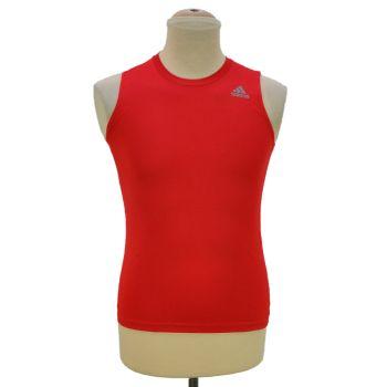 Boys Red Sleeveless Adidas Sports T-Shirt