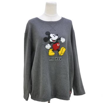 Ladies Embroidered Mickey Mouse Gray Sweatshirt