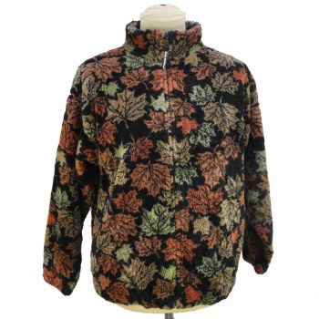 Vintage Black Mountain Maple Leaves All Over Print Fleece Sweater