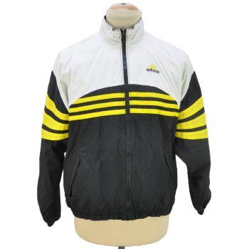 Vintage 90's Adidas Full Zip Yellow Striped Windbreaker Jacket