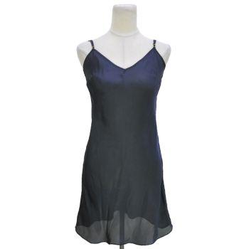 Ladies Strappy Navy Satin Night Dress